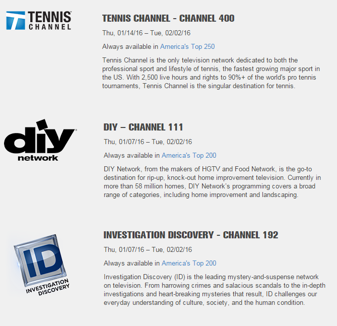 Dish Free Preview - DIY, Investigation Discovery and Tennis
