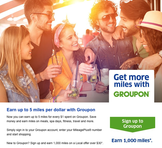 New Groupon Customers Can Earn 1,000 United Miles with This